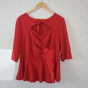 NWT Eloquii Red Peplum Ruched Blouse